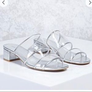 2dd531bdb3f Forever 21 Metallic Lucite Heeled Sandals Clear 8 NWT